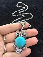 "Owl Necklace Turquoise Charm Owl 24"" Chain Bird Animal Unusual Silver Blue *UK"