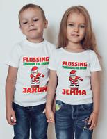 Flossing Santa Kids T-shirt Boy /girl Christmas gift funny T-shirt xmas