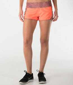 New NIKE Panel Crew Printed Women's Running Short 723928-877 Hyper Orange XL $40