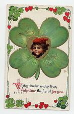 POSTCARD  - VINTAGE VALENTINE 1924 - EMBOSSED - PRETTY CHILD - 4 LEAF CLOVERS