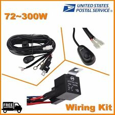 LED Day Running Fog Light DRL Relay Wire Harness On/Off Switch kit for 72-300w