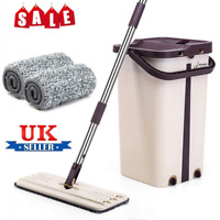 Flat Squeeze Mop And Bucket Hand Free Wringing Floor Cleaning Microfiber Mops UK