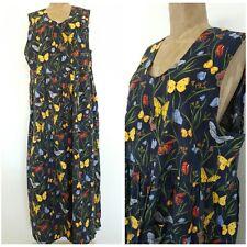 Vintage 80s Butterfly Jumper Dress Size XLarge Deep Armholes Grunge Front Pocket