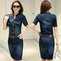New Women Denim Shirt Dress Short Sleeve Pocket Distressed Fade Vintage Blue XL