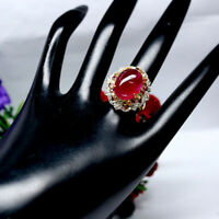 NATURAL 12 X 16 mm. OVAL RED RUBY SAPPHIRE & TOPAZ RING 925 STERLING SILVER