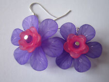 Drop / Dangle Earrings - Large Fuschia - Purple & Pink