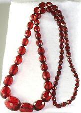VTG 28 INCH FACETED CHERRY AMBER BAKELITE BEADS NECKLACE 46.5 GRAMS