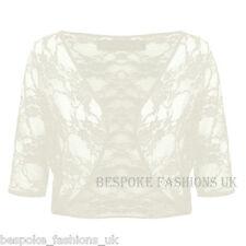 Womens SEE THROUGH Lace 3/4 Sleeve Ladies Cardigan Bolero Shrug Plus Size 8-22