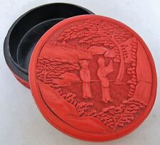 "5.15"" Antique Chinese Cinnabar Red Lacquer Round Box with Scholars & Landscape"