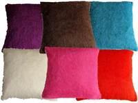 "Shaggy Fleece Cushion Cover Plain Luxury Quality Polyester 6 Col  24"" X 24"""