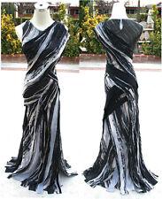 NWT MAX AZRIA $998 Black Silk Formal Evening Gown XXS