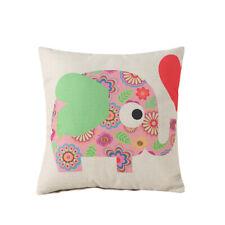 Lovely Cartoon Elephant Animal Linen Pillow Case Cushion Cover Home Textiles N3