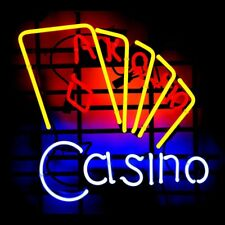 """17""""X14"""" Casino Cards Game Room Poker Real Glass Neon Sign Bar Pub Light"""