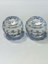 Swarovski Crystal Round Ball Form Pair of Candle Holders