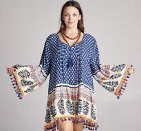 Blue Dress Bohemian Free People Slip Dress Boho Festival Dress S M L