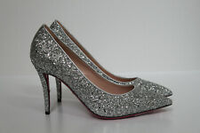 New sz 9.5 / 40 GUCCI Virginia Silver Glitter Pump with Crystal Heart Pump Shoes