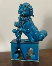 Antique 19th c. Chinese Turquoise Porcelain Foo Dog Lion Mythical Beast Export