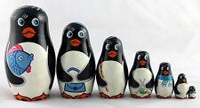 Pingouins matriochka poupées russes peint à la main sculpture du bois art 7pc