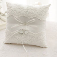Ivory Lace Wedding Satin Bowknot Cushion Bearer Pearl Ceremony Ring Pillow US