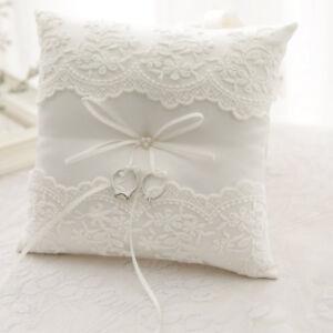 Ivory Satin Lace Flower Bowknot Wedding Ring Pillow Cushion Ceremony AU Bearer