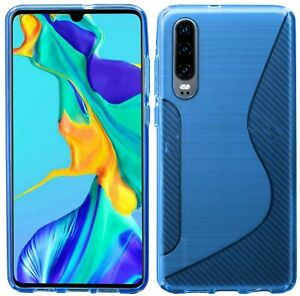 S-LINE Case Bumper Compatible With Huawei P30 Silicone Cover+9H Safety Glass