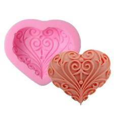 3D Silicone Flower Heart Shape Fondant Cake Mold DIY Craft Soap Candle Mould J