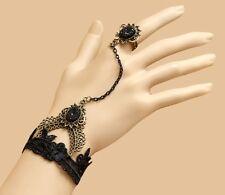 Bracelet femme réglable Dentelle noir Bague métal doré bronze gothique Lolita