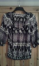 ladies top size 10 M&Co black/white/multi/ 3/4 sleeves casual used