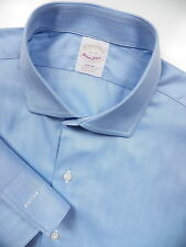 BROOKS BROTHERS MENS 16 LARGE 35 FRENCH CUFF DRESS SHIRT BLUE SEA ISLAND US MADE
