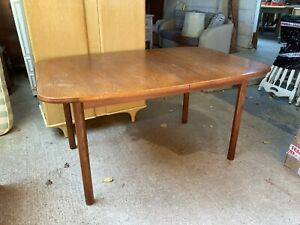 Vintage Mid Century G Plan Brown Wooden Extending Oval Kitchen Dining Table