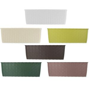 Choose SELF WATERING BALCONY FLOWER BOXES Plastic Rattan 5.3L Planter Troughs