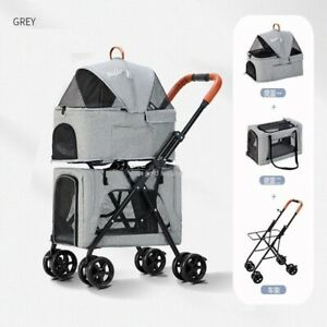 Double-Layer Pet Trolley Large Lightweight One-click Folding Cat Cage Stroller