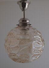 Ältere Hängelampe mit großer Glaskugel, Chrom/Nickel
