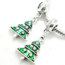 2pcs Silver Christmas European Charm Beads Fit 925 Necklace Bracelet  SQ1840