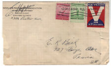 c1940 V for Victory British American Ambulance Poster Stamp tied Chicago Cover