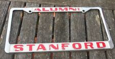 Vintage Chrome  License  Frame Holder Tag  STANFORD / Cardinal Indians