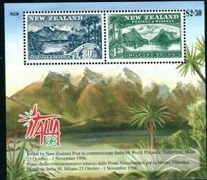 MINT 1998 NEW ZEALAND NZ ITALY CENTENARY PHILATELIC STAMP MINI SHEET