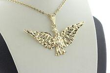 14K Yellow Gold Diamond Cut Open Spread Winged Standing Eagle Charm Pendant