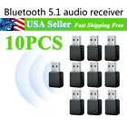10PCS USB AUX Bluetooth 5.1 Adapter Dongle Receiver Audio Music For Car PC TV