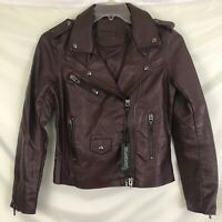 Blank NYC Vegan Leather Moto Jacket Wine Sz Large