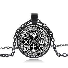 Kingdom Hearts Trinity Emblem Black Glass Cabochon Necklace chain Pendant
