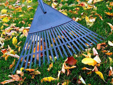 55cm Wide Heavy Duty Plastic Canadian Rake Lawn Leaves Garden + 115cm Handle