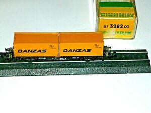 Minitrix 3282  Container Tragwagen  DANZAS   in Originalbox   wie neu......