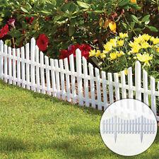 4 White Wooden Effect Lawn Border Edge Garden Edging Picket Fencing Set Stone
