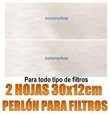 2 HOJAS DE PERLON 30X12CM PARA FILTROS ESPUMA FILTRANTE RETENCION ACUARIO