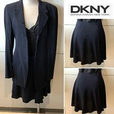 DKNY Dark Navy & White Pinstriped Crepe Wrap Short Skirt 40-42IT/10-12AU/6-8US