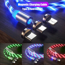 LED Flowing Light Up USB Cable For Type-C iPhone Charger Cable Charging Cord UK