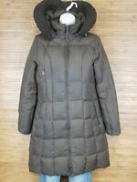 Michael Kors Brown Down Puffer Short Trench Jacket Womens Size Small S