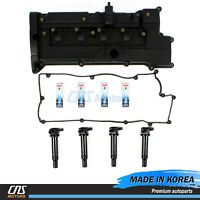 Valve Cover Set & NGK Spark Plug & Ignition Coil for 2006-2011 Accent Rio 1.6L