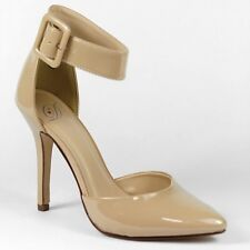 Beige Patent Ankle Cuff Pointy Toe Classic Stiletto Heel Pump Delicious Aveta-H